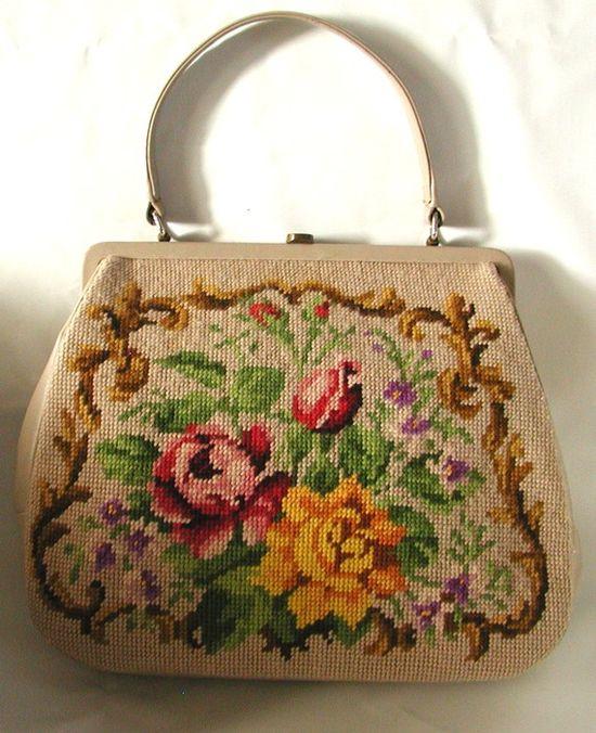 Shabbyliouciously Fabulous Floral Needlepoint Vintage Handbag.
