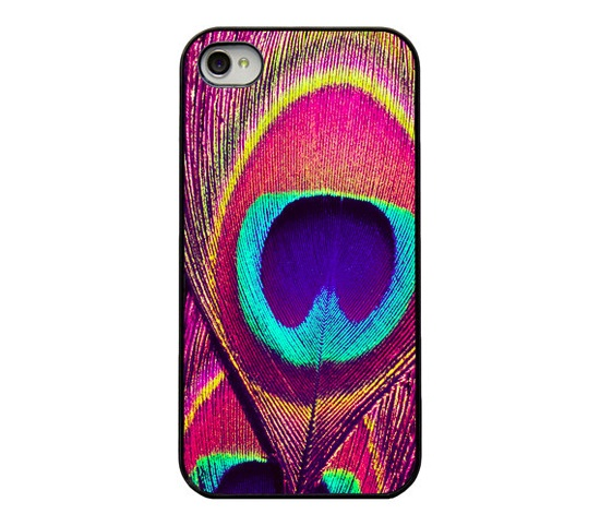 Peacock Iphone case - Iphone 4 4s cover - pink purple blue peacock feather - unique trendy girly iphone case - colorful - bright peacock.