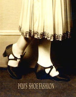 In the 1920s women's shoes focused on the strap design. Bar Shoes and T- Bar shoes were all the rage.  Popular because you could dance without them slipping off !