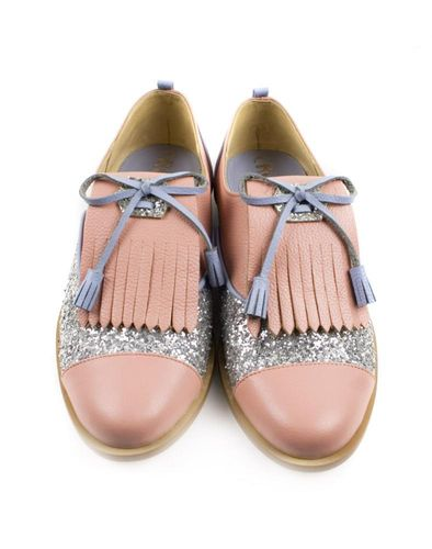 Leather Oxford shoes with silver glitter