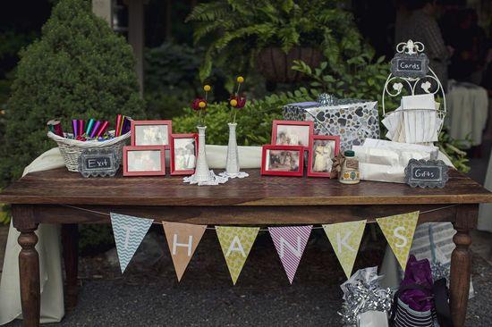 Family photos and whimsical wedding reception decor.