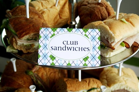 Club sandwiches at a Golf Party.  See more party ideas at CatchMyParty.com.  #golfpartyideas