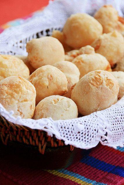 Pão de Queijo Brazilian cheese bread. Served in a very Brazilian way.
