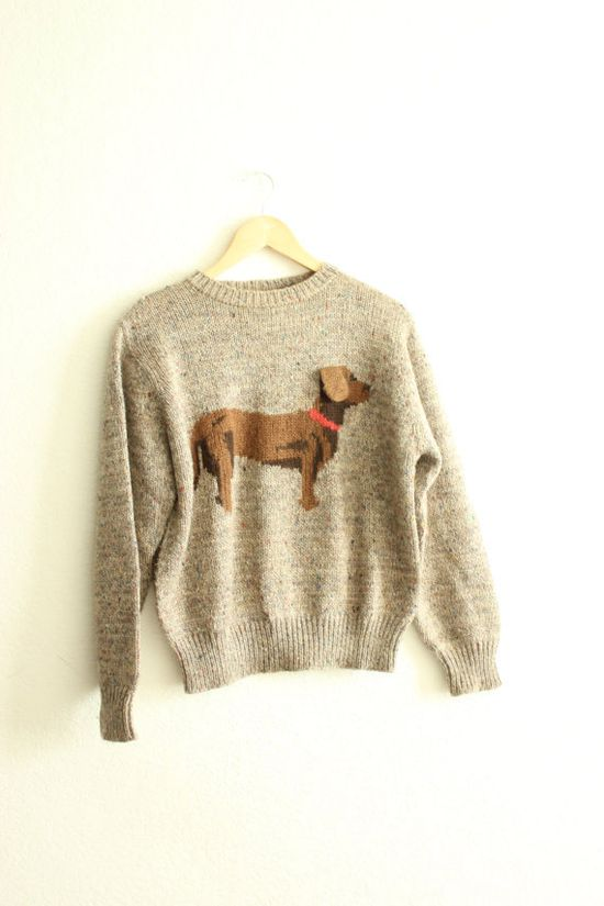 Vintage Weiner Dog Sweater with Quirky 3D Ear by xLaVieEnClothes