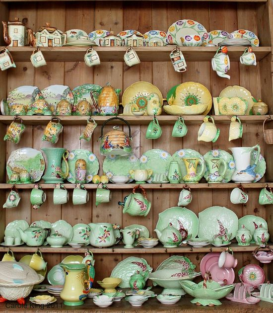 An absolutely inspiringly beautiful collection of vintage (primarily 1930s) china from brands like Carlton Ware - Buttercup, Apple Blossom and Foxglove. Royal Winton Beehive. James Kent Poppy and Annette, Burleigh Ware, and Grindley Poppy. #vintage #china #kitchen #shabby #chic #home #decor #collection