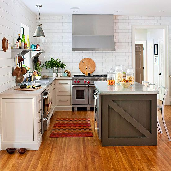 Kitchen with large subway tile