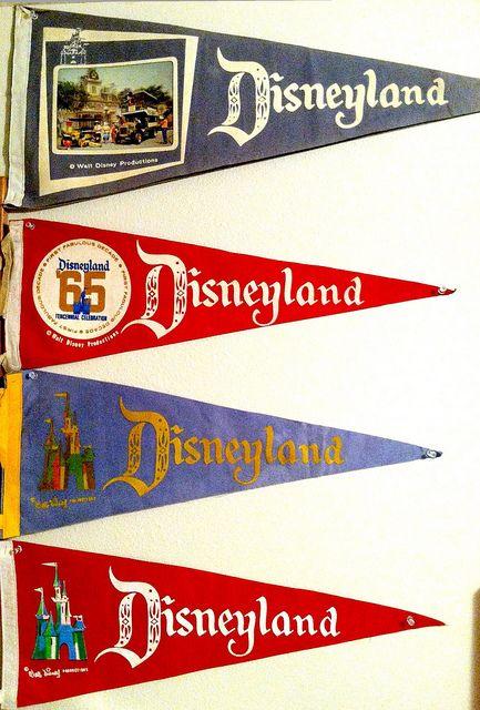Vintage Disneyland souvenir pennants.