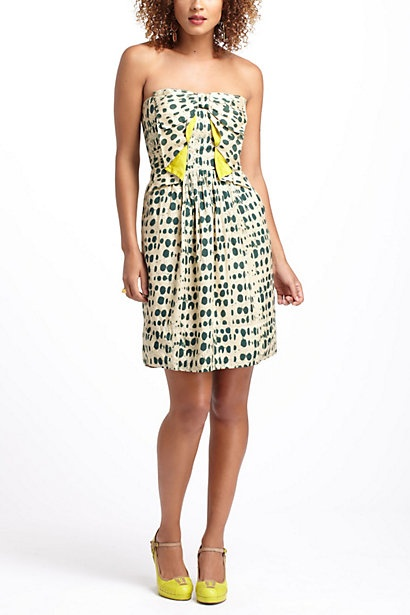 Bottle Green Dotted Party Dress