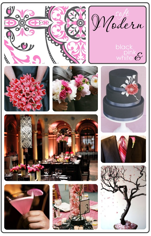 Black Tablecloths -gray and pink wedding