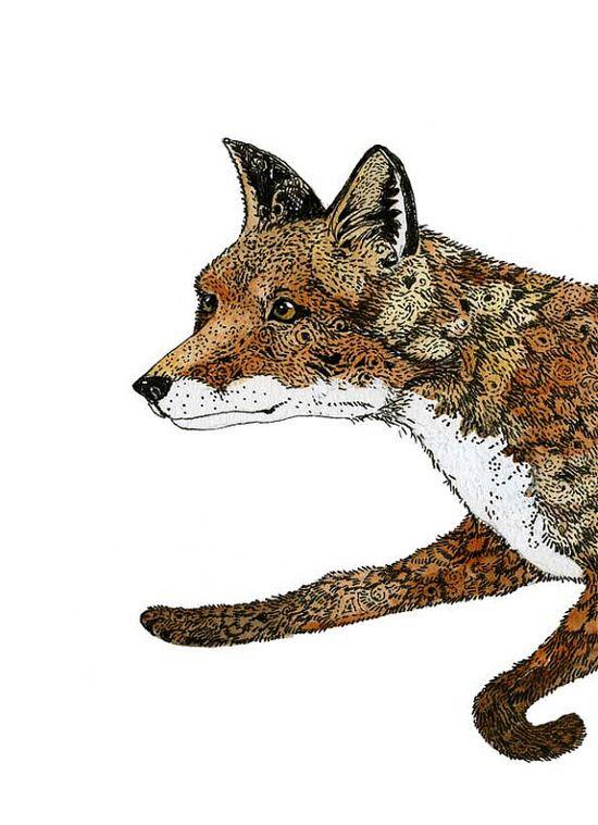 Fox running print