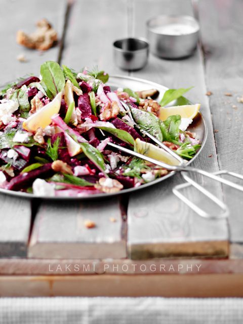 Such a vibrant, inviting looking beetroot and walnut salad. #salad #cooking #food #vegetables #beets