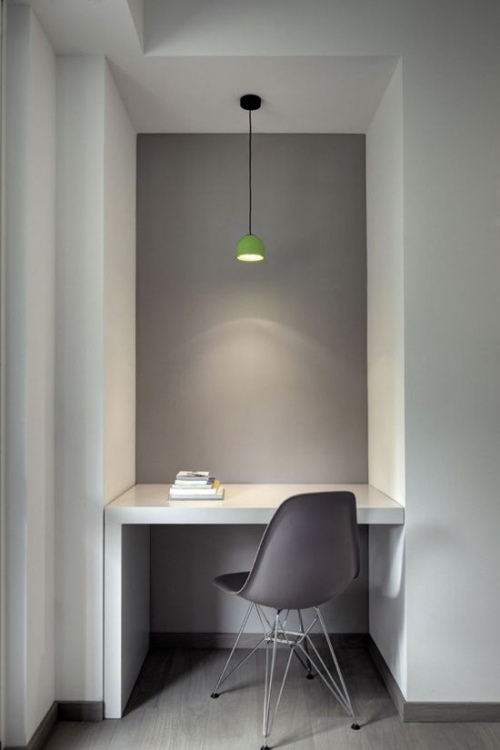 minimalist interior design great use of a small space Gray Interior - home office/work #Desk Layout