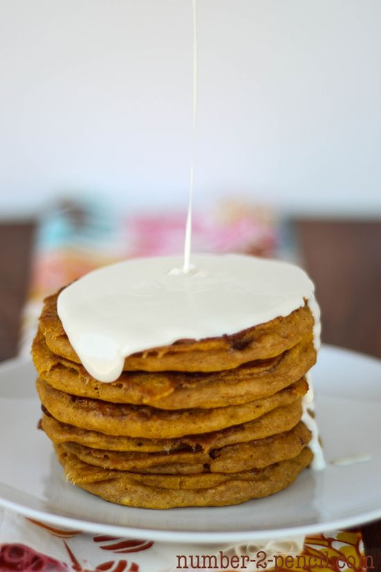 Pumpkin cinnamon roll pancakes! These look SO good!
