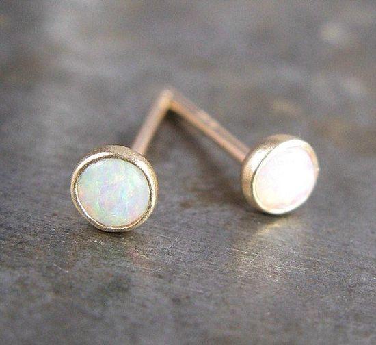 Opal Studs in 14k Gold $110