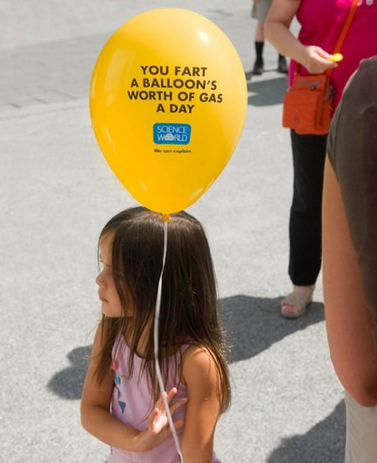 Science World: Balloon worth of fart gas a day - funny ad
