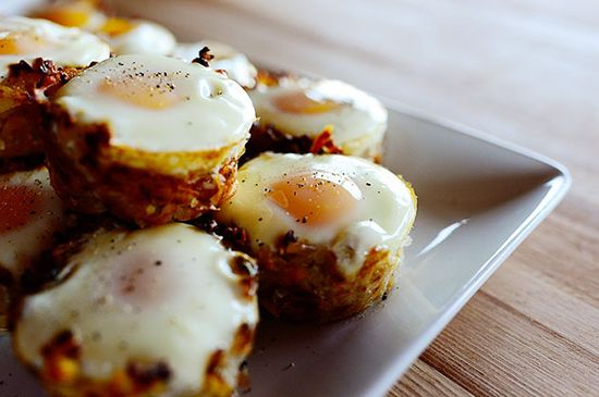 Eggs in Hash Brown Cups - Tender-but-crispy potato nests with a luscious baked egg in the middle. They go perfectly with ham for a more substantial brunch, or they're great for a casual breakfast with a piece of bacon. Or two. Or three. Or nineteen.