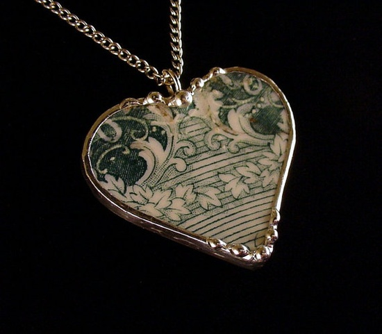 English teal transferware Broken china jewelry necklace by Dishfunctional Designs.