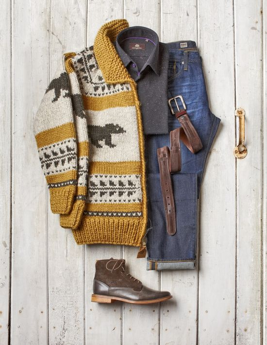 Rustic Cardigan, Gray Boots, and Faded Jeans. Men's Fall Winter Fashion.