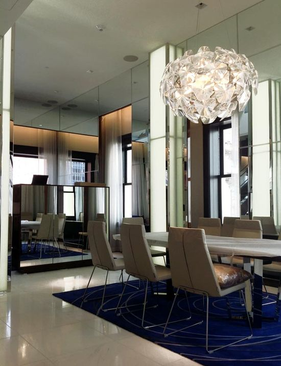 Backlit Columns White Glass Hotel Interior Design