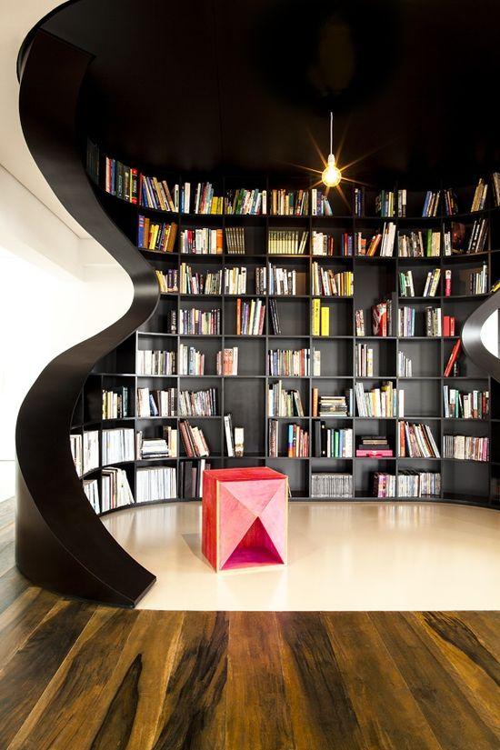 Black shelves + modern furniture + funky entryway