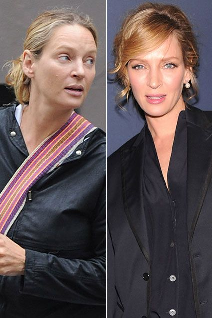 We are used to seeing celebs dolled up in their best finery. But what do stars look like with no makeup?! Take a look to find out which gutsy celebs were either caught in public without makeup on or dared to bare their faces via Twitter! You vote! So which of Uma's looks is the best? Pregnant and plain-faced in NYC, or made-up at Fall 2012 Fashion Week?