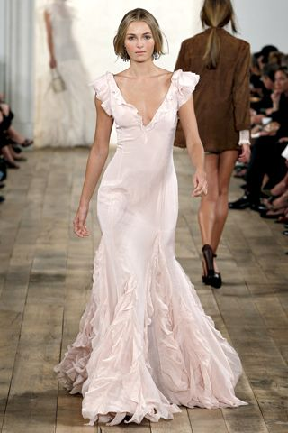 Soft, blush pink wedding dress