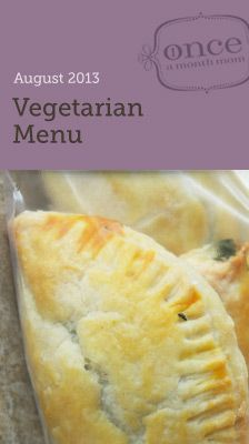 Vegetarian August 2013 Menu- cook a month's worth of meals in one day. Includes grocery list, instructions, and printable labels. #freezercooking #vegetarian #oamc