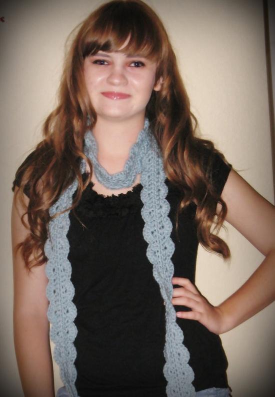 Ruffled crochet scarf