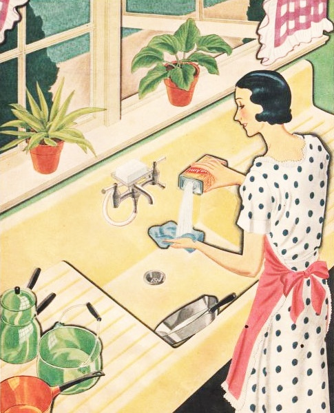 Illustration from a Bon Ami cleaner ad, 1932.