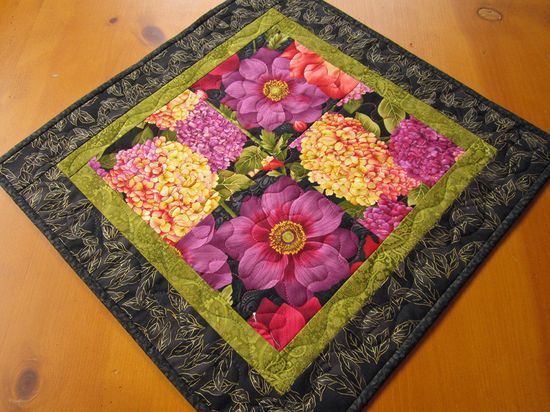 Handmade Quilted Floral Table Topper