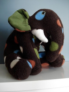 Handmade stuffed elephant Funky Friends Factory pattern