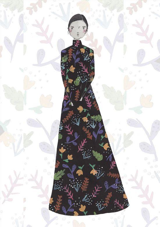 Floral Fashion Illustration by Illustrator by Amyisla Illustration