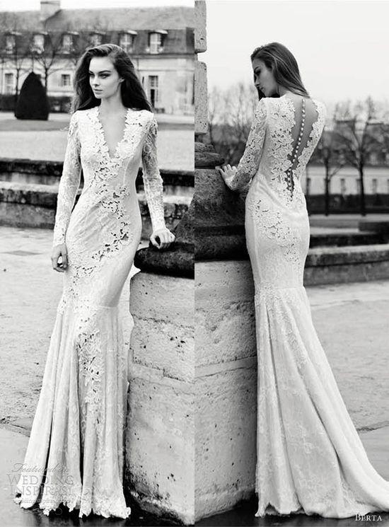 berta wedding dresses 2013 long sleeve lace sheath