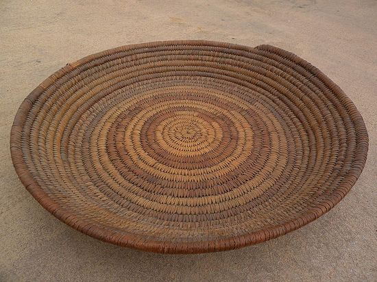 Hand made woven basket origin unknown