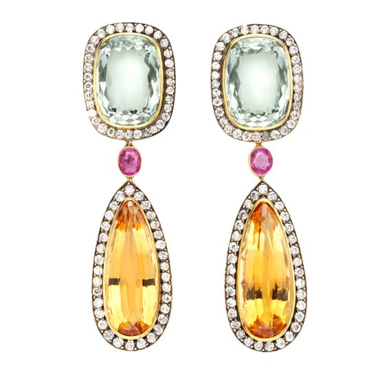 Pair of Aquamarine, Topaz, Diamond and Ruby Pendant Earrings