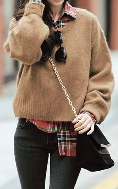 plaid shirt under sweater // love it