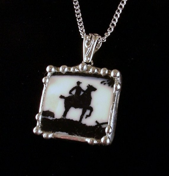 Equestrian Broken china jewelry by Laura Beth Love Dishfunctional Designs