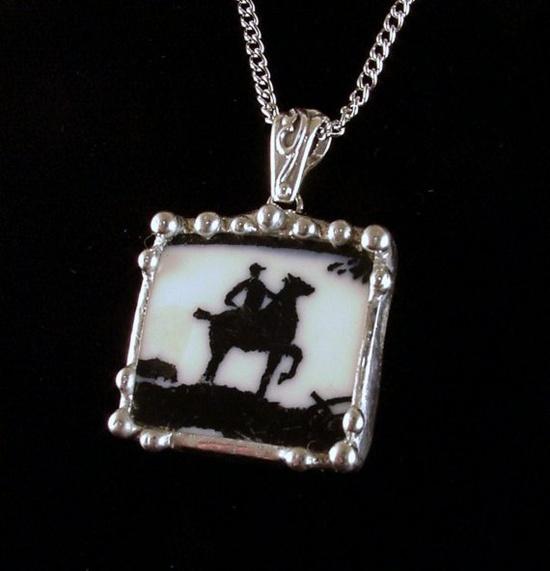 Rare equestrian china. Broken china necklace pendant