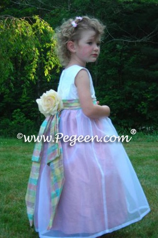 Custom Flower girl dress with plaid silk sash