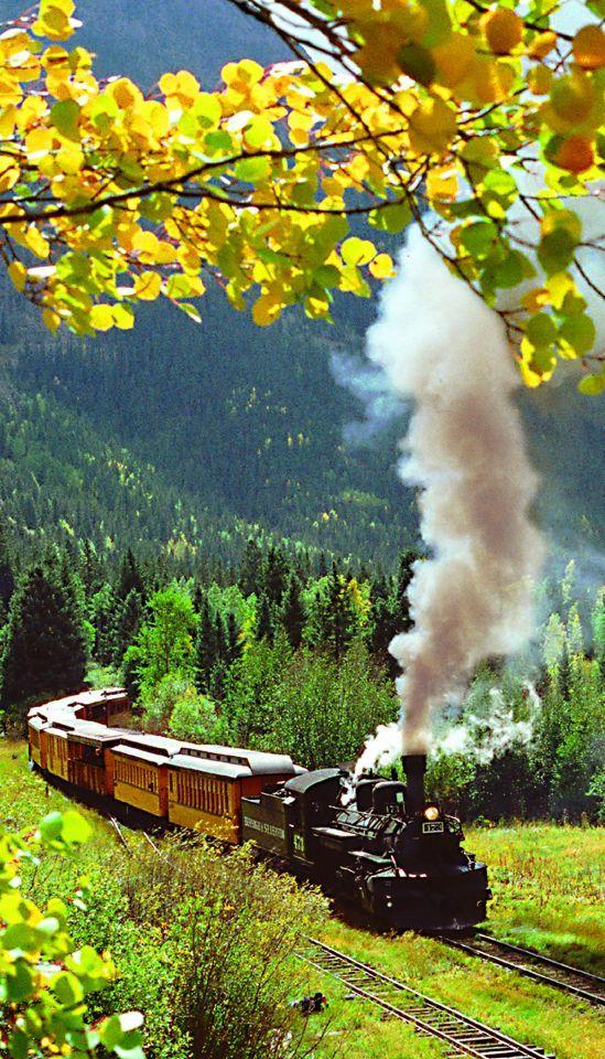Scenic train rides on the Durango & Silverton Narrow Gauge Railroad, near Pagosa Springs, CO