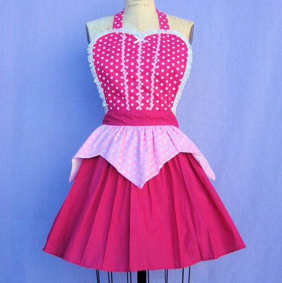 """retro apron AURORA Sleeping Beauty inspired retro APRON womens full costume aprons in pretty pink polka dots"". This is an amazing idea and I MUST DO THIS."