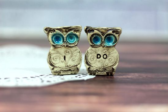 Owls Wedding cake topper  a pair of I DO owls Cute by orlydesign, $37.00