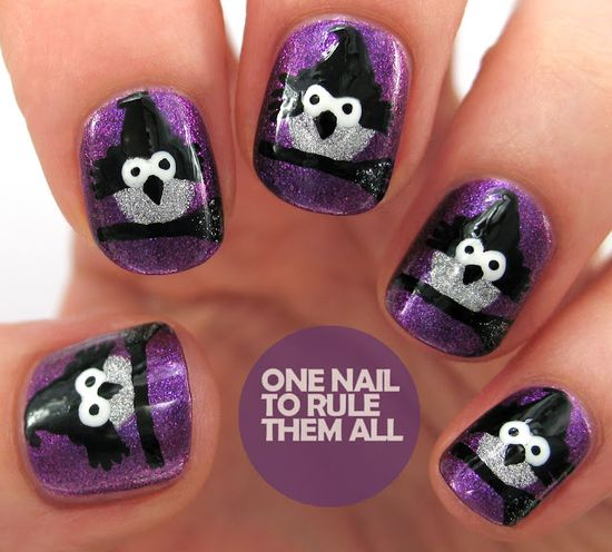 One Nail To Rule Them All: Witch Owls Halloween  #nail #nails #nailart