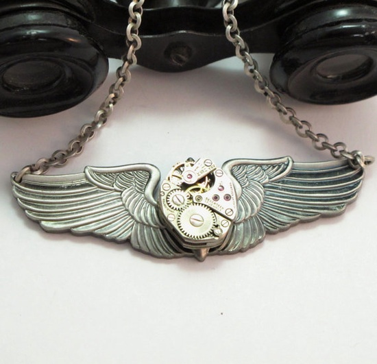 Wings of Flight Necklace by Mystic Pieces #steampunk #jewelry #mysticpieces