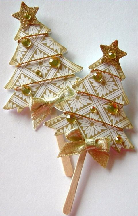 Pretty Paper Christmas Trees  -- I want to make some for my tree.