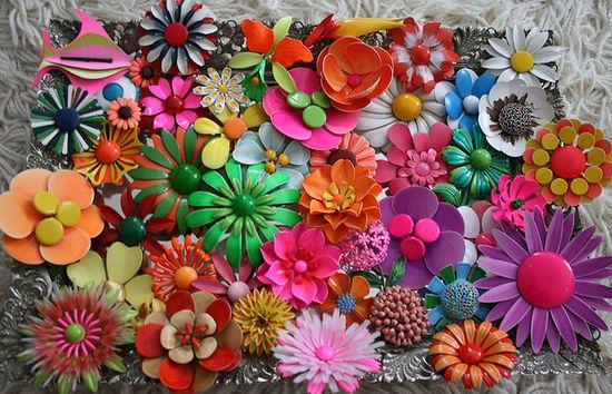 ooo la la! vintage enameled floral brooches
