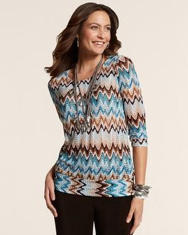 Chico's Travelers Collection Chevron Banded Top #chicos