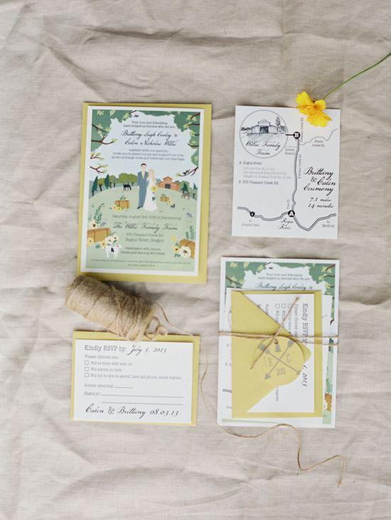 yellow invitations for a backyard wedding // photo by Tara Francis // ruffledblog.com/...