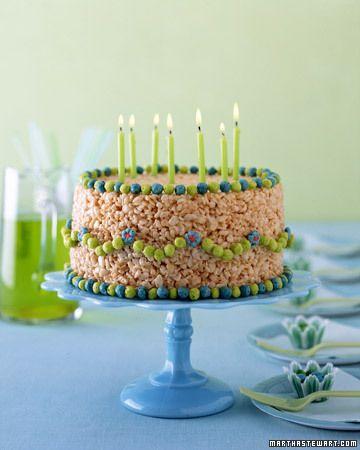 #KatieSheaDesign ?? No Bake Birthday #Cake by Martha Stewart: Rice Crispy treat!