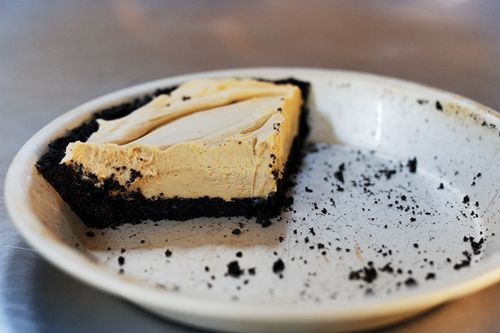 Chocolate Peanut Butter Pie- pretty simple. Just oreos, butter, peanut butter, powdered sugar, cream cheese and cool whip